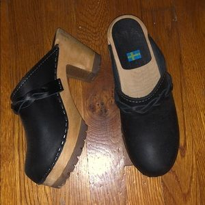 MIA Black Leather Slip oh Clog Heels